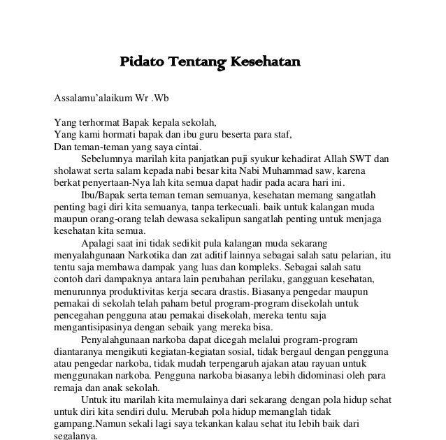 Contoh Pidato Bahasa Indonesia Bertema Kesehatan - Contoh Cic