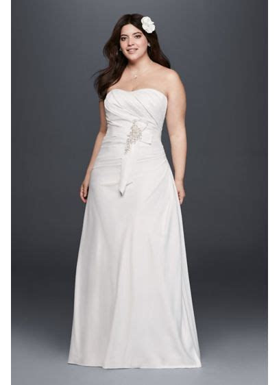 Plus Size Ruched Wedding Dress with Bow at Hip   David's