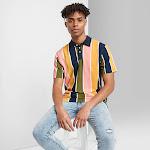 Men's Striped Short Sleeve Retro Polo Shirt - Original Use