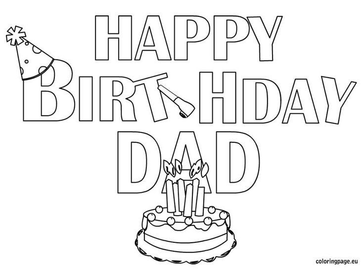 Happy Birthday Daddy Coloring Page - Coloring Home