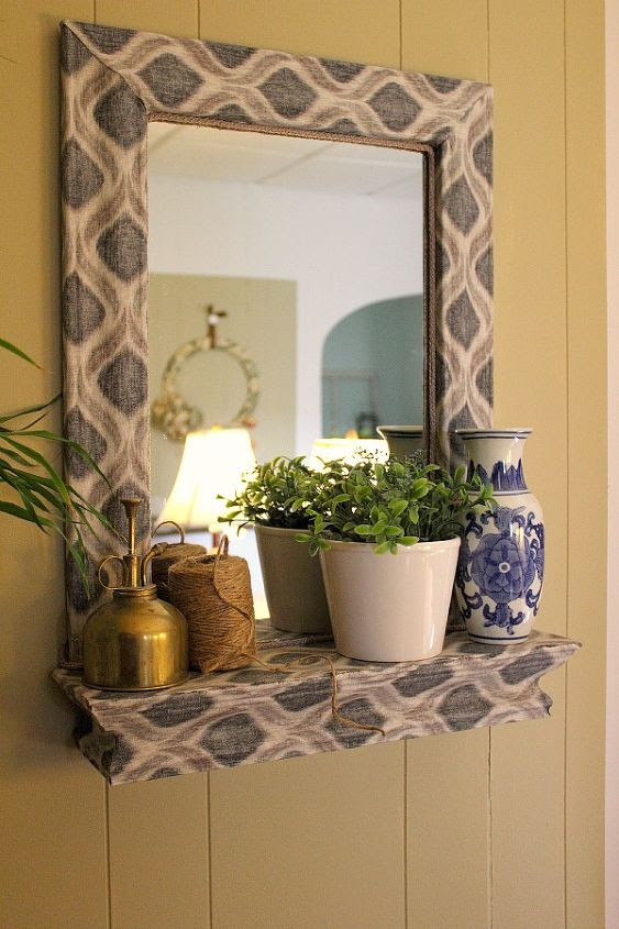 A Fabric and Mod Podge covered Mirror | Hometalk