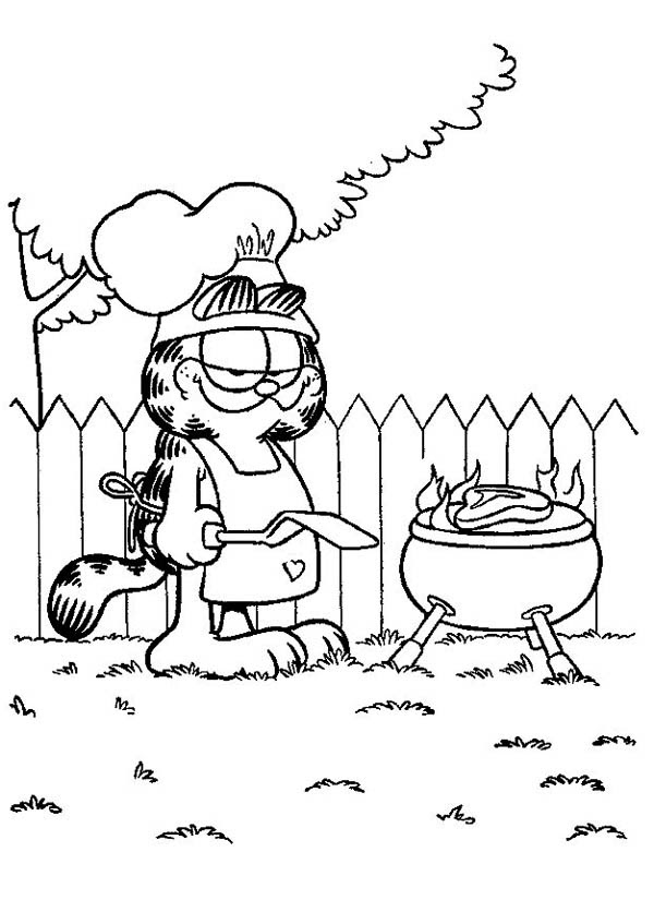Garfield Cooking Barbeque Coloring Page
