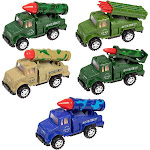 Juvale 5-Pack Boys Push and Go Military Toy Vehicle Trucks with Missile Launchers in Assorted Colors for Kids, 5 Inches