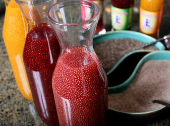 Fruit juices with suspended chia seeds at Janie Hoffman's home in Bonsall, Calif.