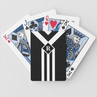 White Stripes and Chevrons on Black with Monogram Bicycle Playing Cards
