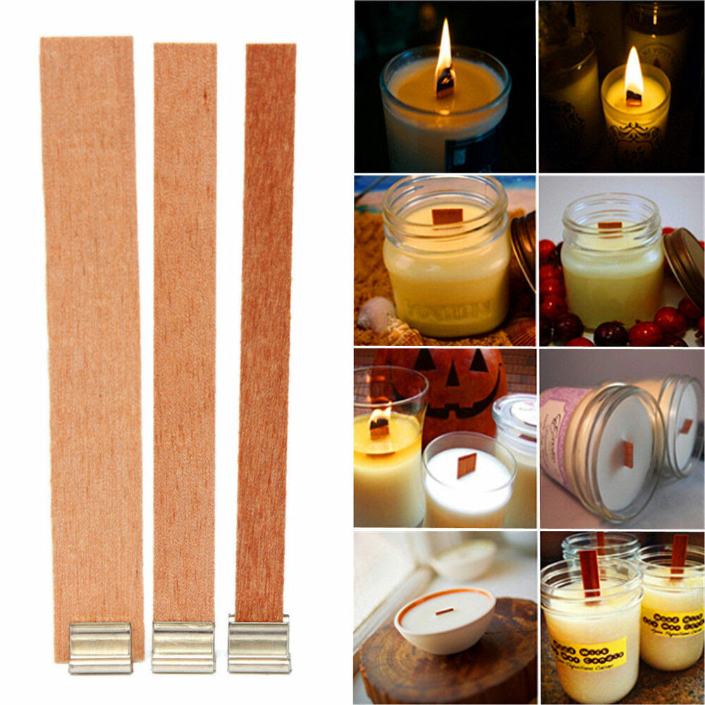 40 Pcs Wooden Wick Candle Core Sustainers Tab DIY Candle ...