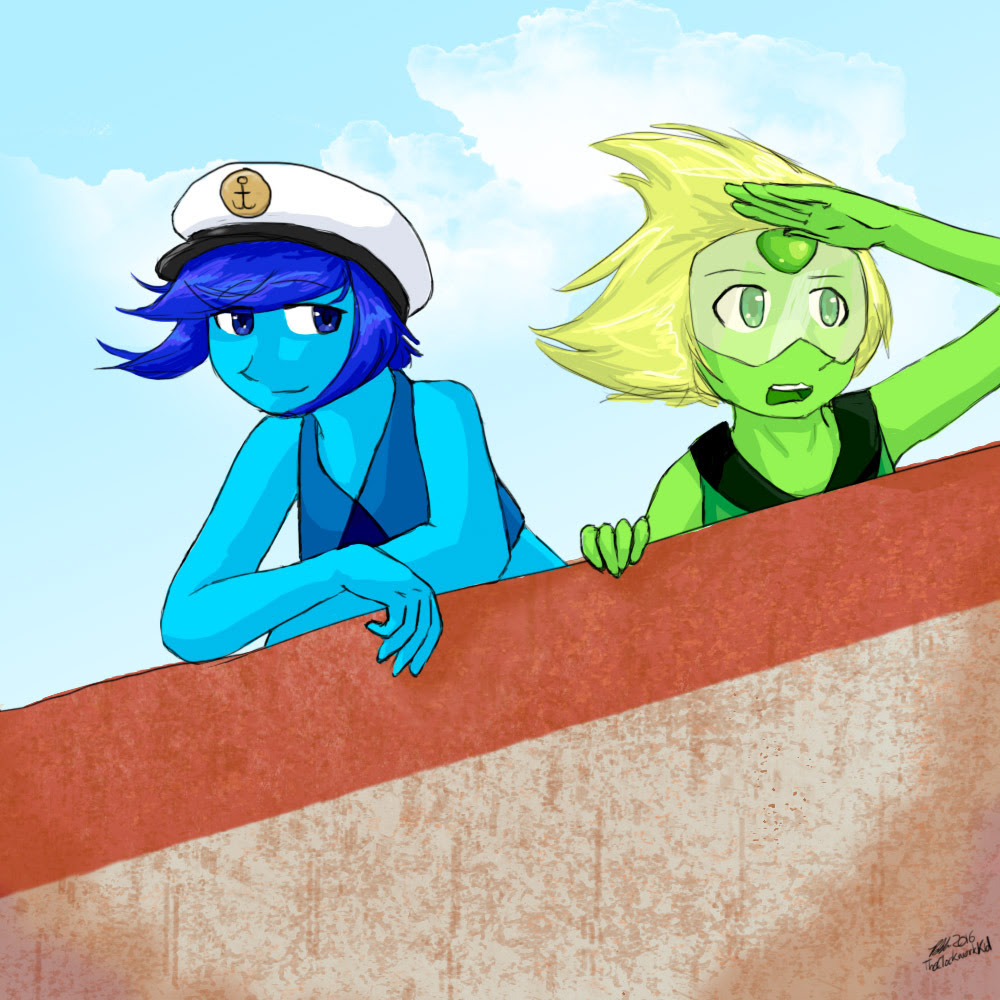 SailActual Steven Universe characters. Wow. Lapis and Peridot enjoying a boat ride. Originally it was gonna be just Lapis, happy, on the ocean, but I added an amazed Peridot. I don't ship LapiDot...