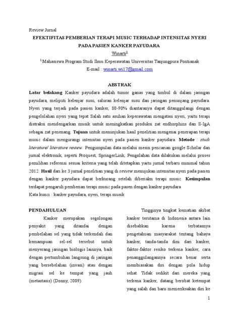 Review Jurnal Pemberian Terapi Music Terhadap Nyeri Pada