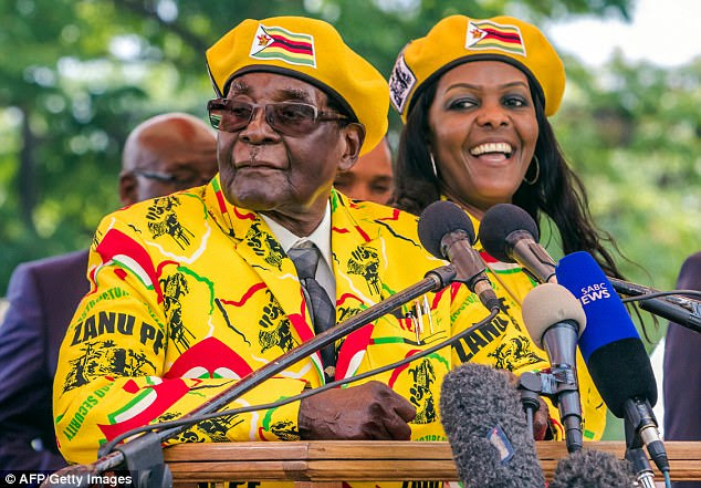 Chatunga and Robert Jr are the sons of Grace and Robert Mugabe (pictured together today). The boys caused an international incident earlier this year when Mrs Mugabe was accused of beating a model over the head with a plug while looking for them in South Africa