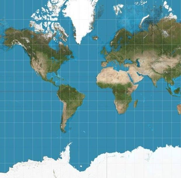 Projeção de Mercator, que está no Atlas, mostra a Groenlândia tão grande quanto a África (Foto: Wiki commons)