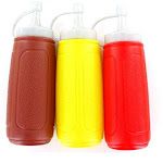 Handy Housewares HH574 3 PC Squeezable Picnic Condiment 8 oz. Squeeze Dispenser Storage Bottles - Great for Ketchup Mustard and BBQ Sauce!