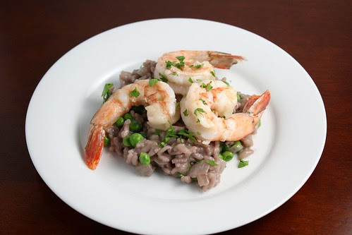 Red Wine Risotto with Peas and Shrimp