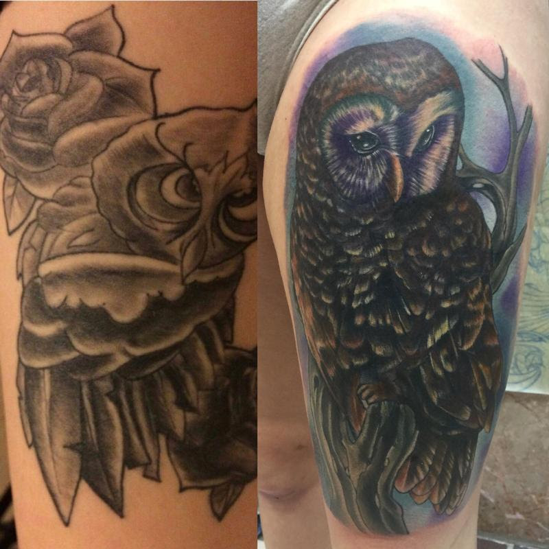 Altered Images : Tattoos : Coverup : Owl cover up