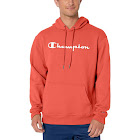 Champion Men's Powerblend Fleece Pullover Hoodie, Script Logo - Groovy Papaya