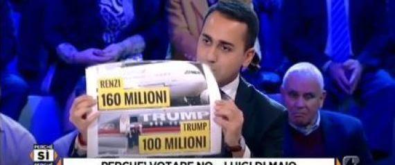"""Risultati immagini per Referendum, Luigi Di Maio: """"Cambiare la Costituzione per risparmiare? Per l'aereo di Stato Renzi ha speso più di Trump"""""""