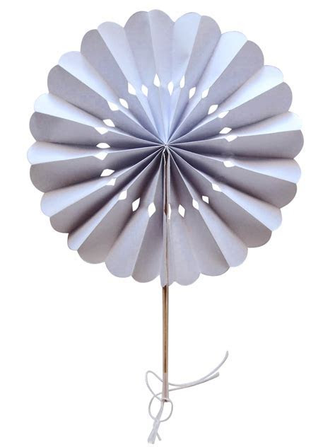 "8"" White Pinwheel Paper Folding Hand Fan for Weddings (10"