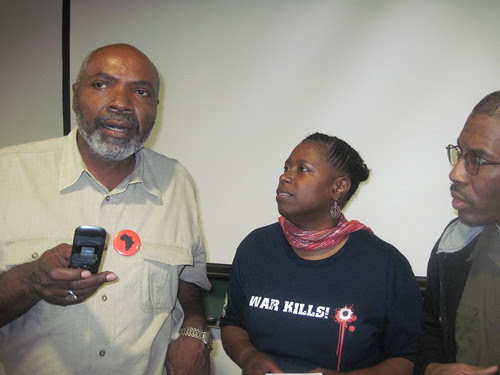 Abayomi Azikiwe, editor of the Pan-African News Wire, with former US Congresswoman Cynthia McKinney at a public meeting opposing the Pentagon-NATO war against Libya. The meeting was held August 27, 2011. (Photo: Leona McElevene) by Pan-African News Wire File Photos