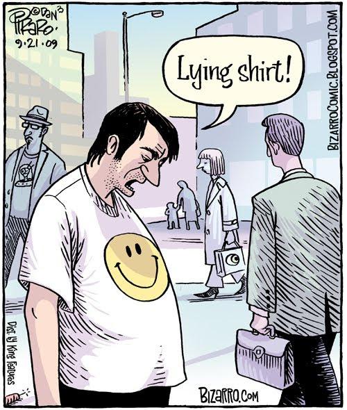 Lying tshirt smile