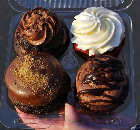 Patti's four-pack of cupcakes - Death by Chocolate, Red Velvet, Fudge Brownie, and S'More
