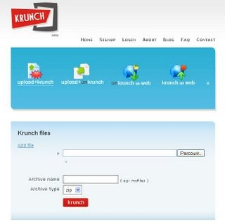 Application Web 2.0 : Krunch, compression/décompressoin en ligne
