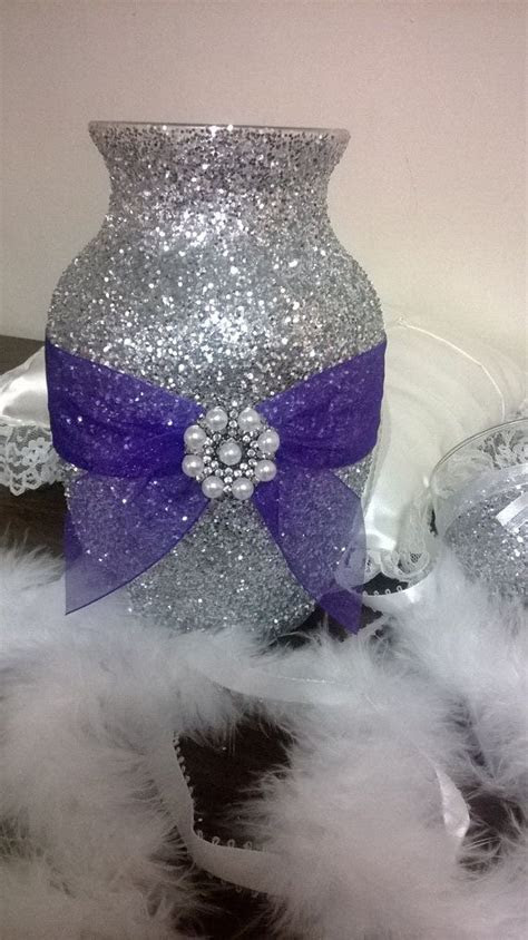 Silver glitter vase with purple ribbon, wedding