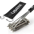 "Amazon.com : BBQ Grill Brush By USA Kitchen Elite - Best Barbecue Grill Cleaner - 18""- 3 Stainless Steel Brushes in 1 - Perfect for Char-Broil, Weber, Porcelain and Infrared Grills - Free handy bag to store it in : Patio, Lawn & Garden"