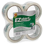 "Duck Ez Start Crystal Clear Packaging Tape - 1.88"" Width X 54.60 Yd Length - 3"" Core - Acrylic - Yellowing Resistant - 4 / Pack - Crystal"