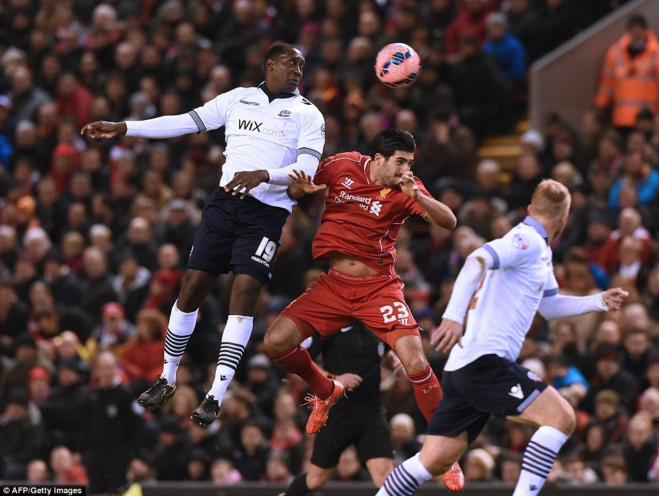 Emile Heskey showed he had lost little of his appetite for an aerial battle with the totemic striker winning a header against Emre Can