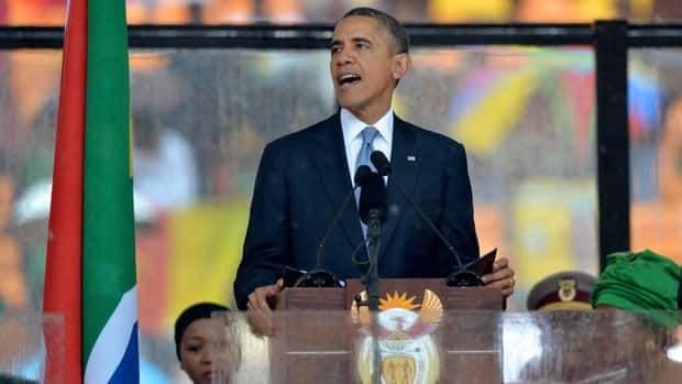 Barack Obama speaks at Mandela memorial