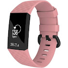 Fitbit Charge 3 Bands, by Zodaca Replacement Band Silicon Wristband Watch Straps for Fitbit Charge 3 Fitness Activity Tracker - Pink Size Large