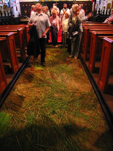 Saddleworth church, rushes on floor
