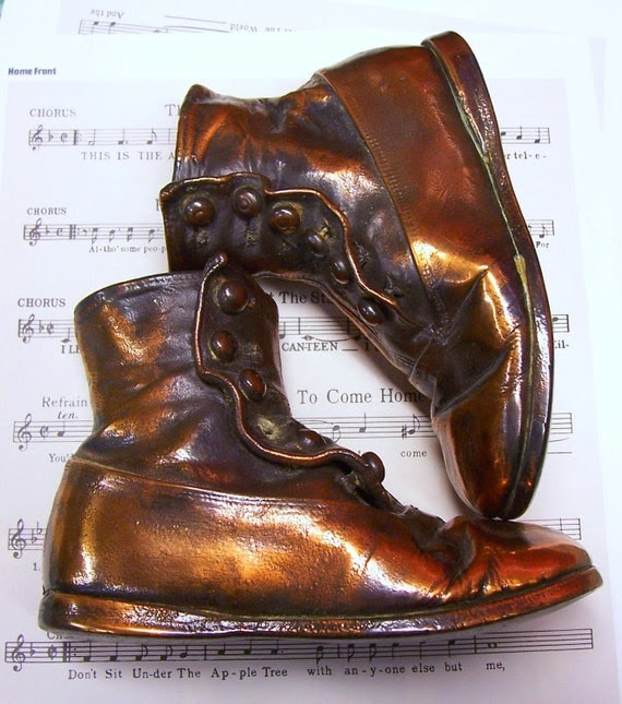 Antique Bronzed Buttoned Hightop Baby Shoes Treasury Item
