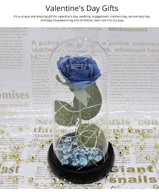 Blue Roses Lamp with LED Fairy String Lights, Fallen Petals and ABS Base in A Glass Dome, Valentine's Day Best Gift for Her