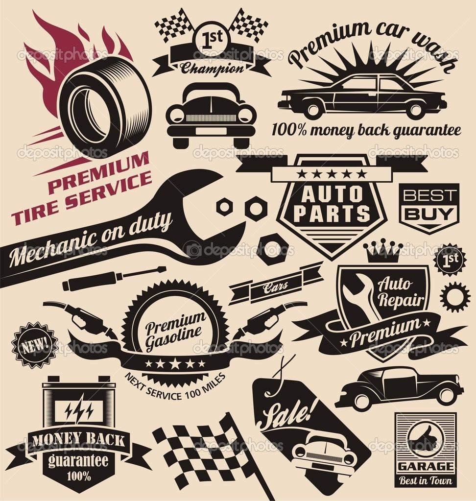 7 Vector Vintage Car Sign Images - Vintage Car Repair Sign ...