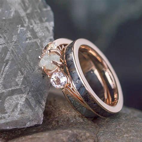 Rose Gold Ring Set Three Stone Meteorite Engagement Ring