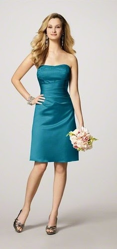 ALFRED ANGELO TEAL  BRIDESMAID DRESS