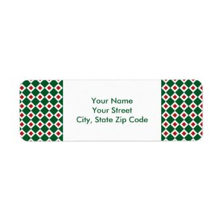 Green, White, Red Diamond Pattern address label