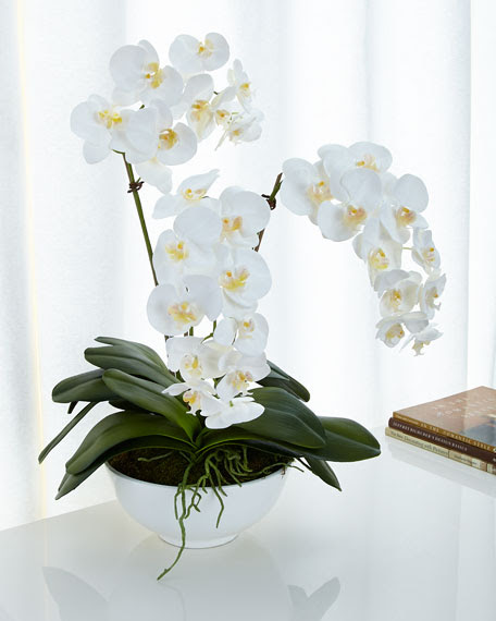 NDI White Orchids FauxFloral Arrangement