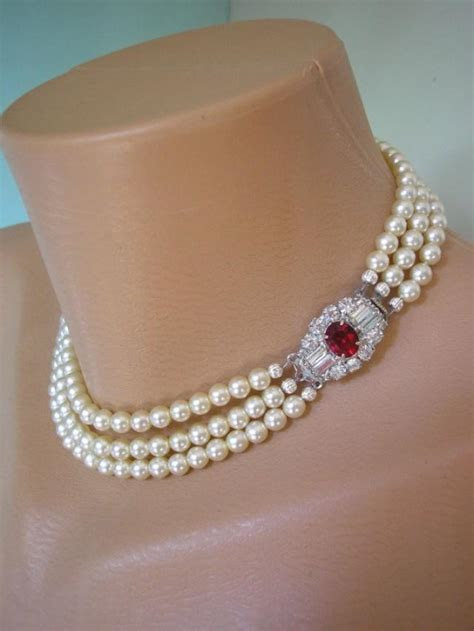 RUBY Bridal Choker, Pearl Choker, Pearl Necklace, Mother