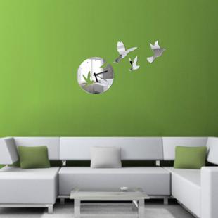 Sticker Mural Miroir Pour Décoration Dintérieurhorloge Miroir Oiseaux