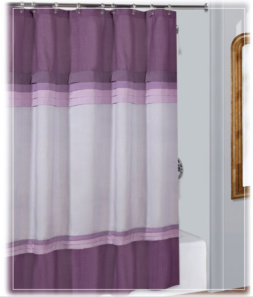 Gray And Purple Shower Curtain