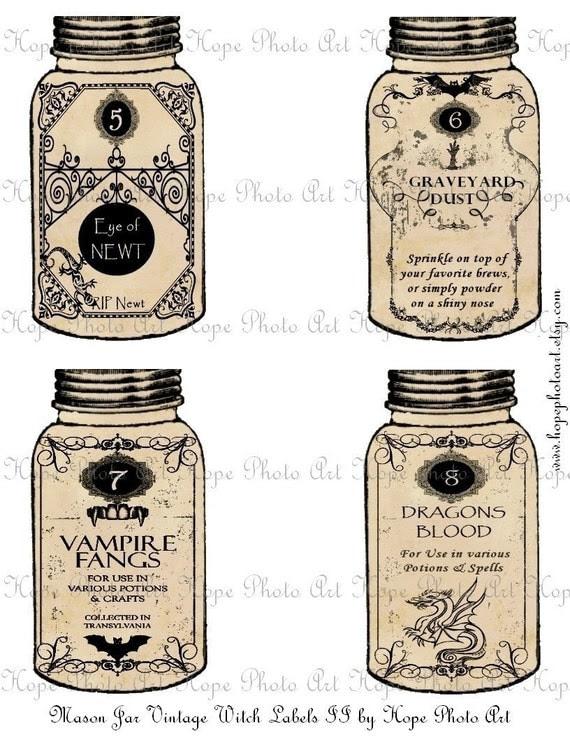 Halloween Mason Jar Witch Potion Labels II Tags - Eye of Newt Graveyard Dust Vampire Fangs Dragons Blood ATC ACEO - U Print 300dpi jpg