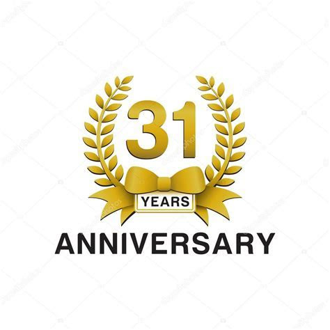 31st anniversary golden wreath logo ? Stock Vector