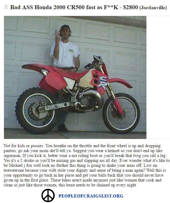 Hilarious Craigslist Dirtbike Ad People Of Craigslist