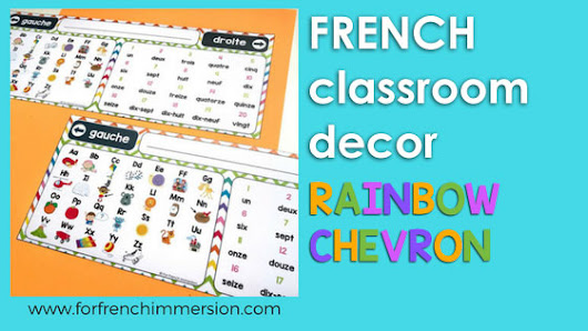 French Classroom Decor Rainbow Chevron - For French Immersion