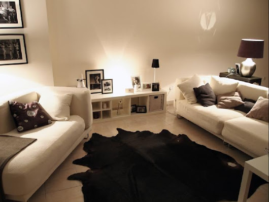 Black Cowhide Rug - Contemporary - living room