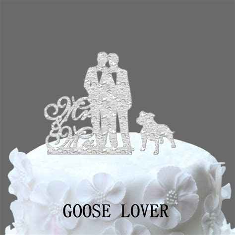Gay Cake Topper Mr And Mr With Pitbull, Unique Wedding