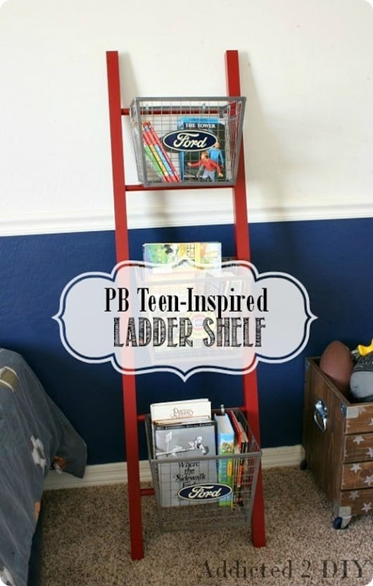 Ladder Shelf with Wire Baskets