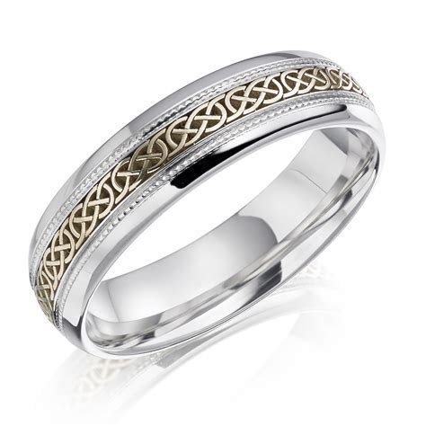 Gents Two Tone Contemporary Celtic Ring