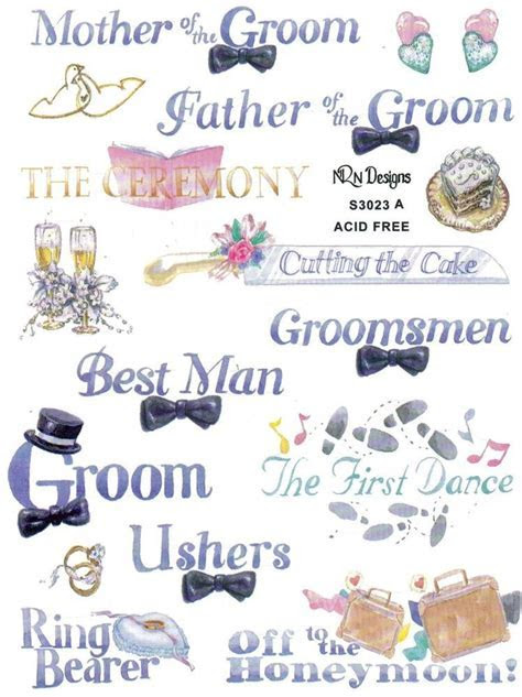 WEDDING PARTY Scrapbook Stickers and Phrases   wedding